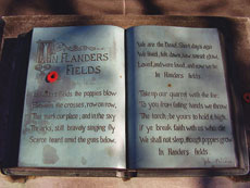 "John McCrae Memorial ""book"" close-up. McCrae House, Guelph, Ontario.  Photo courtesy of Wikimedia Commons"